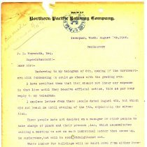 Image of Letter from S.G. Talmadge (Agent) to F.E. Weymouth (Superintendent). August 7, 1908.  - Jim Frederickson Collection