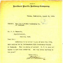 Image of Letter from B.E. Palmer to F.E. Weymouth. August 25, 1908.  - Jim Frederickson Collection