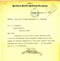 Image of Letter from B.E. Palmer to F.E. Weymouth (Superintendent). September 16, 1908.   - Jim Frederickson Collection