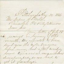 Image of Letter: John B. Herron to Depue S. Miller, Aug. 30, 1866. - Lucy Stevenson Collection
