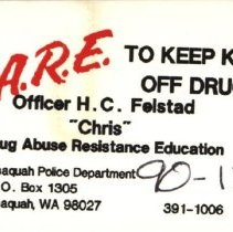 Image of Business card: D.A.R.E. TO KEEP KIDS OFF DRUGS -