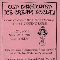 Image of Small Poster for the Ice Cream Social to Celebrate the Openning of Pickering Farm in 2001 -