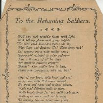 """Image of Newspaper Clipping of a Poem, """"To the Returning Soldiers,"""" 1899. - Lucy Stevenson Collection"""