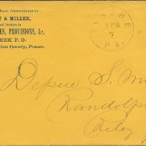 Image of Envelope from Hess, Knecht, and Miller general store to Depue S. Miller, Esq., Apr. 7, n.y. - Lucy Stevenson Collection