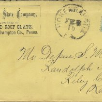 Image of Envelope from The National State Company to Depue S. Miller, Feb. 10, n.y. - Lucy Stevenson Collection