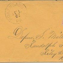 Image of Envelope addressed to Depue S. Miller Esq., Jul. 22, n.y. - Lucy Stevenson Collection