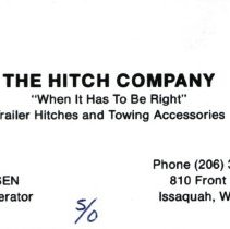 Image of Business Card: The Hitch Company -
