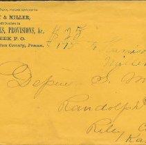 Image of Envelope: Hess, Knecht, and Miller to Depue S. Miller, n.d. - Lucy Stevenson Collection