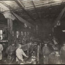 Image of Workers in T.M. Sinclair plant, 1912.