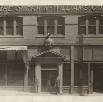 Image of Sherwin-Williams building, car, Early 1900s