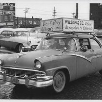 Image of Automobile in Local P3 Union strike in Cedar Rapids, IA, 1959.