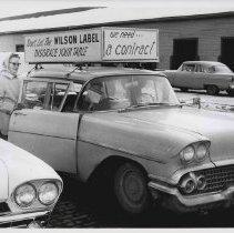 Image of Automobile in Local P3 Union strike in Cedar Rapids, IA, 1959.