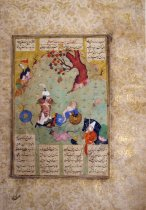 Image of King Rostam recognizes his son Sohrab