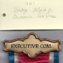 Image of 461 A.B.. Cummins executive comisson badge with ribbon.
