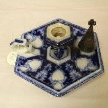 Image of 1841 blue and white china candleholder
