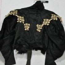 Image of 3444 Jacket, Black satin with white lace, back