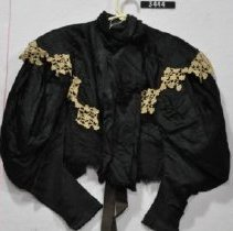 Image of 3444 Jacket, Black satin with white lace, front