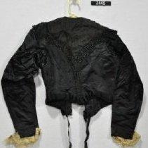 Image of 3445 Jacket, Black satin with beading, back