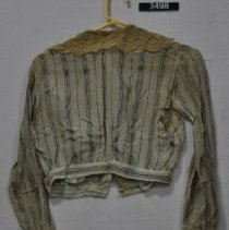 Image of 3498 Blouse, Blue stripes with lace collar, back