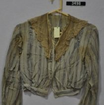 Image of 3498 Blouse, Blue stripes with lace collar, front