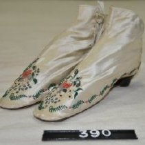 Image of 309 Shoes, White satin with embroidered flowers