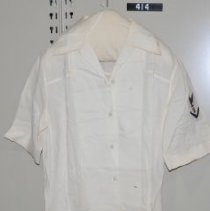 Image of 414 Shirt, White, attaches to US Naval uniform, front