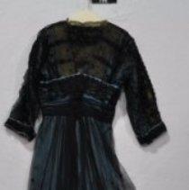 Image of 796 Dress, Light blue satin material under black netting, back