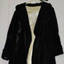 Image of 1499 Coat, black velvet, white satin lining, front