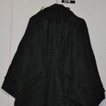 Image of 2078 Shawl, Black taffeta, buttons and lace collar, back