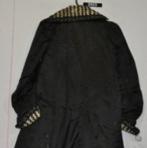 Image of 3425 Coat, black satin, cord braid on collar and cuffs, back