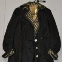 Image of 3425 Coat, Black satin, cord braid on collar and cuffs, front