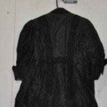 Image of 3448 Coat, black taffeta with lace inserts, back