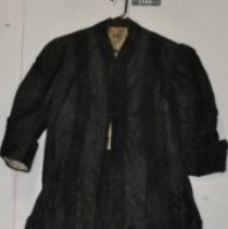Image of 3448 Coat,black taffeta with lace inserts, front