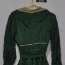 Image of 3496 Dress, Dark Green silk, lace, back