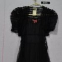 Image of 9455 Dress, Black net formal with taffeta underskirt, front
