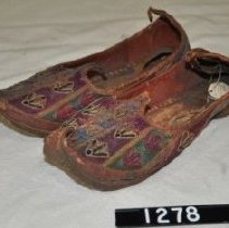 Image of 1278 Shoes, Men's slippers, leather embroidered floral design, brown