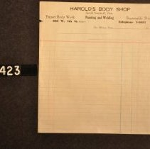 Image of 1995.2.1423 Form, Harold's Body Shop
