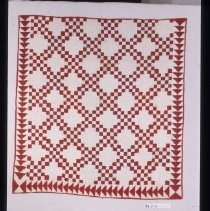 Image of 325 Quilt, red and white, Double Irish Chain