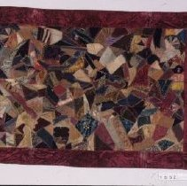 Image of 1552 crazy Quilt, red velvet border