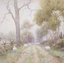 Image of Painting - Pastoral Scene of Sheep on Lane