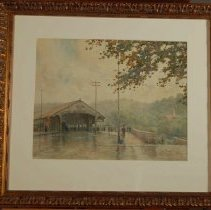 Image of Painting - A Rainy Day at the Bridge