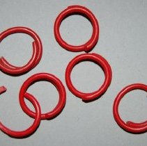 Image of Tag, Animal - (6) Six red chicken leg bands