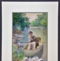 Image of Painting - Portrait of 'Mayme' Bull Within River Landscape