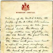 Image of Letter - King George V Letter to AEF