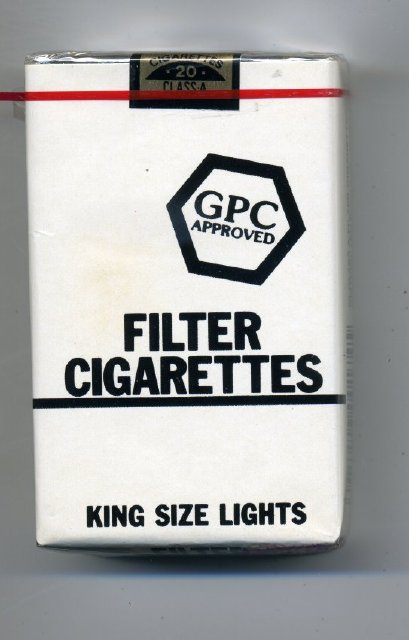 """Cigarette - Package of generic """"GPC"""" low tar filter tip cigarettes, kings"""