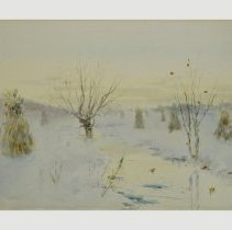 Image of Painting - Winter Scene with Fodder Shocks