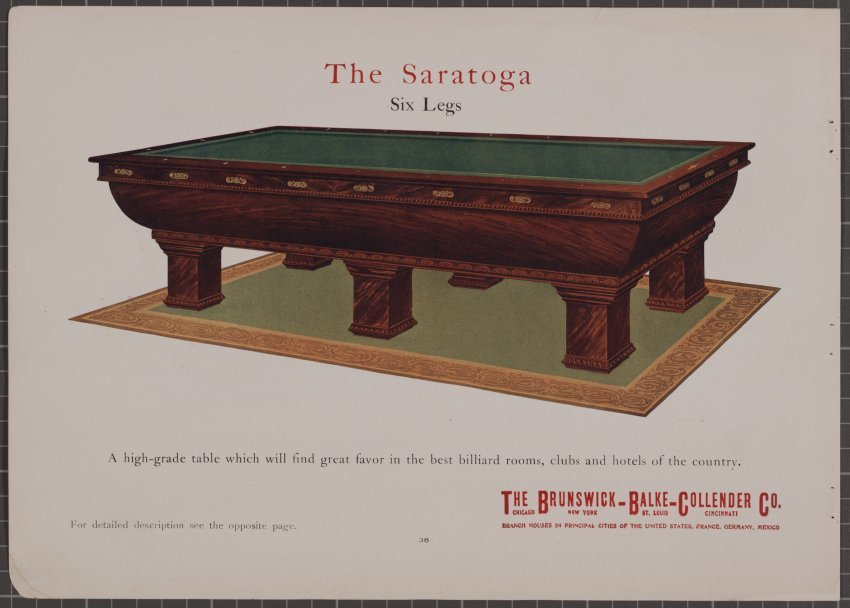 Catalog Mail Order - Pool table description