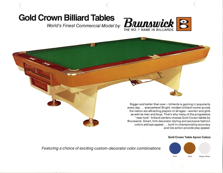 Brochure - Brunswick gold crown pool table for sale