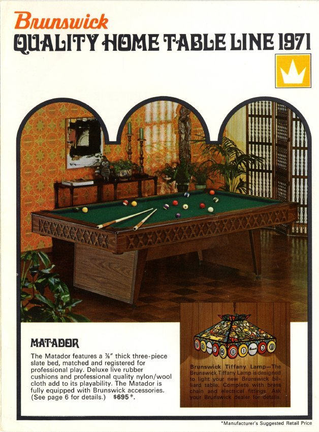 Catalog Mail Order - Brunswick dunham pool table