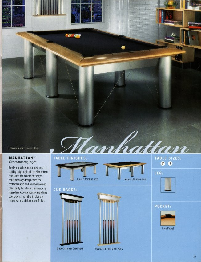 Catalog Mail Order - Brunswick manhattan pool table